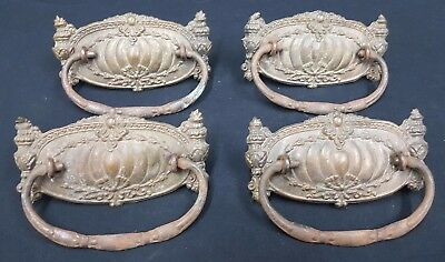 Architectural Salvage Ornate Wide Brass Embossed Design Drawer Pulls Set of 4