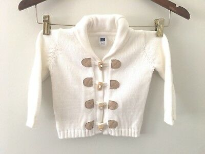 Janie and Jack Baby Boy's Size 6-12 Months White Cardigan Sweater Toggle Buttons