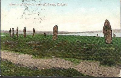 Stenness, Orkney - Standing Stones nr Kirkwall - postcard 1909