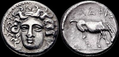 Nymph of Larissa.Ancient Greek Drachm from THESSALY. Ex  BCD Collection. RARE