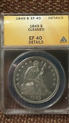 Nice XF 1849 Seated Liberty Silver Dollar ANACS EF-40 Details Cleaned Rare