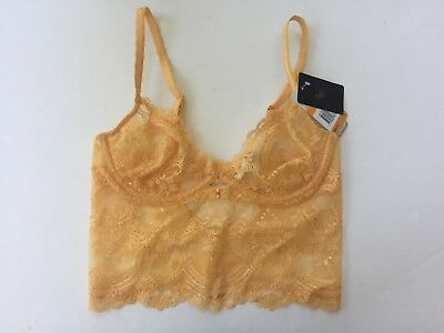 596bb9fe1a8ff Wacoal Chrystalle Longline Underwire Bra Small Orange Lace WE119012 NWT!