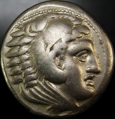 ALEXANDER THE GREAT TETRADRACHM. Macedonian helmet. Rare Ancient Greek Coin