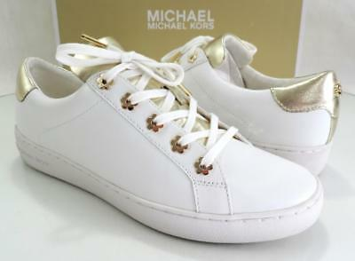 1a87d81df2ae Women s Shoes Michael Kors IRVING LACE UP Sneakers Leather White   Gold  Size 10