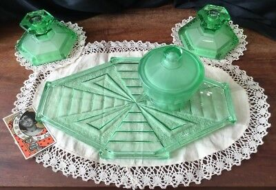 Art Deco Vintage collectable Green Uranium Glass 4pce Vanity Doily Dresser Set