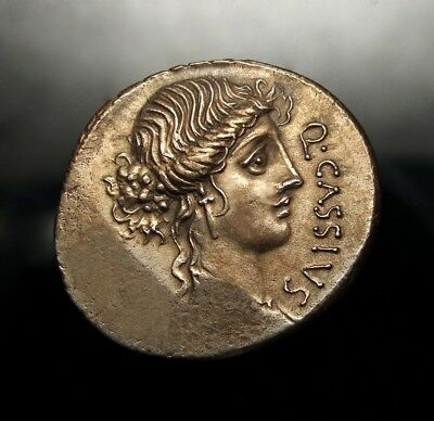 Cassius Longinus Killer of Caesar. Marvelous Gold iridescent denarius. Very rare