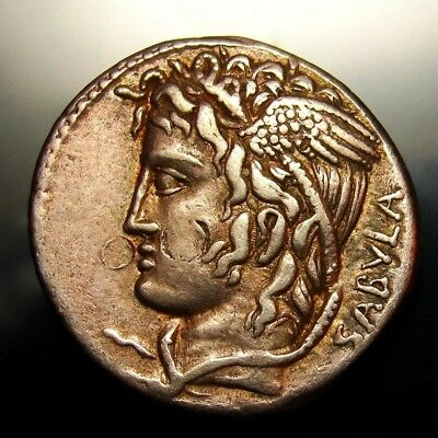 MEDUSA with Snakes from SABULA. Super Rare Gold Iridescent Denarius.WORTH $4,500