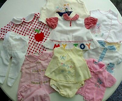 VTG 70s Lot Baby Infant Girl Clothing 0-12 Mo Embroidery Ruffle Dresses Outfits