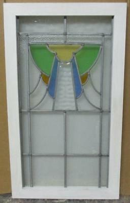 "LARGE OLD ENGLISH LEADED STAINED GLASS WINDOW Abstract Beauty 17.5"" x 30.5"""