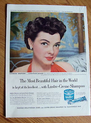 1952 Lustre-Creme Shampoo Ad Movie Star Kathryn Grayson