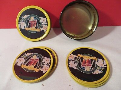 6 count Tin Coca-Cola Collectible Absorbent  Coasters cork bottom in tin