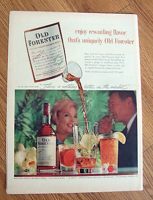 1959 Kentucky Whiskey Ad Enjoy Rewarding Flavor Uniquely Old Forester