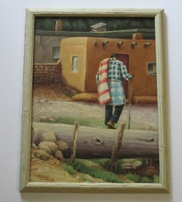E.J Predika painting original oil on board Native American Indian Pueblo vintage