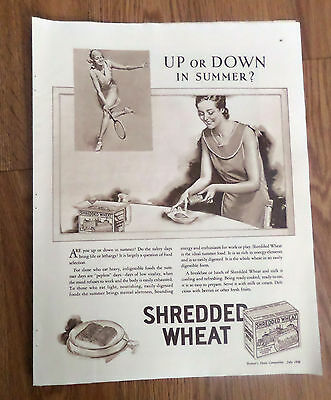 1930 Shredded Wheat Cereal Ad  Up or Down in Summer   Tennis Theme