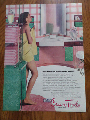 1946 Cannon Towels Ad View Bathroom Pink