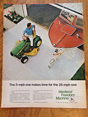 1970 John Deere Lawn Tractor Ad Weekend Freedom Machines the 5 MPH Makes Time