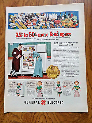 1951 GE General Electric Refrigerator Ad  25% to 50% more Food Space