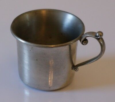 Vintage Kirk Stieff Brushed Pewter Baby Child Handled Cup Mug 250-2B Collectible