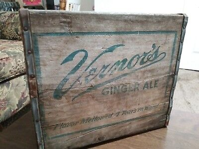 Vintage Antique  Vernors Ginger Ale Wood Crate & Bottles Soda Collectable