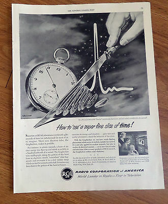1950 RCA Ad How to see a super fine slive of Time Electron Tube Freezes