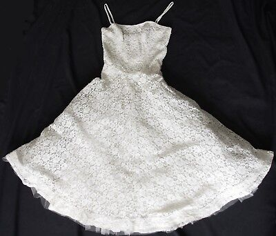 Exquisite Vintage 50s Ivory Pearl Beaded Sequin LACE Twirl Wedding Gown Dress XS