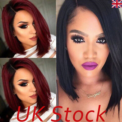 UK Womens Short Straight Bobo Wig Lace Front Brazilian Glueless Hair Side-parted