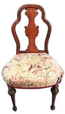 Antique 19th C American Victorian Carved Side Occasional Vanity Chair Vintage