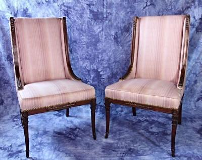 2 Neoclassical Mahogany Carved Side Chairs Armchairs Dining Settee Sofa Antique