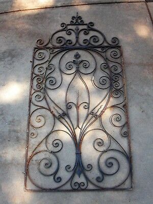 Rustic Vintage Wrought Iron Gate Architectural DécorGarden Entry Wall Art