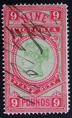 Rare 1888 Victoria Australia £9 Apple Green & Rosine Stamp Duty stamp P12.5 used