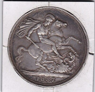 1887   Queen Victoria Large Crown / Five Shilling Coin  from Great Britain