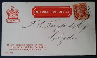Rare 1898 Victoria The Imperial Fire Office Cover  To Clyde Victoria