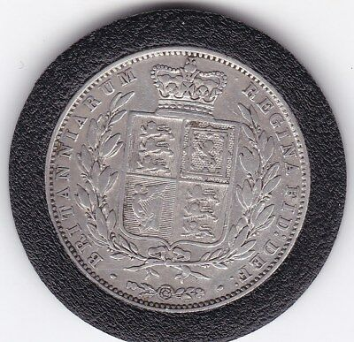 Scarce  1844   Queen  Victoria  Half  Crown (2/6d) - Sterling  Silver Coin