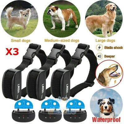 3x Anti No Bark Shock Dog Trainer Stop Barking Pet Training Control Collar NEW