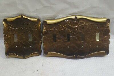 Lot 2 Vintage MCM Burnished Brass Finish Switch Plate Covers - quad And double