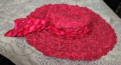 Vintage_Big Floppy Red Lacy, Woven, Womens Hat
