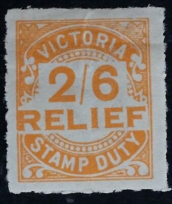 Rare 1930 Victoria Australia 2/6- Orange RELIEF Stamp Duty stamp Full Gum Mint