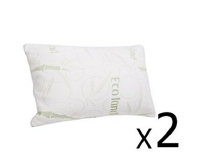 NEW 2x Bamboo Fabric Cover Shredded Neck Shoulder Support Memory Foam Pillow