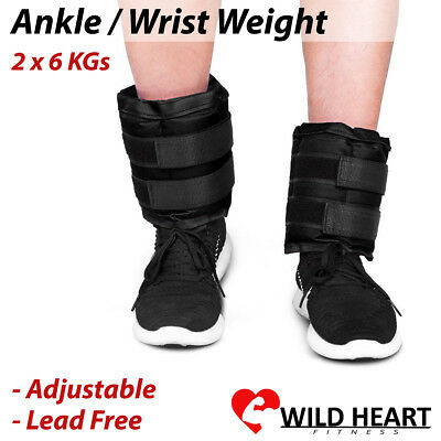 2x6Kg Wrist Ankle Weight Adjustable Gym Home Fitness Training Adjustable Pair St