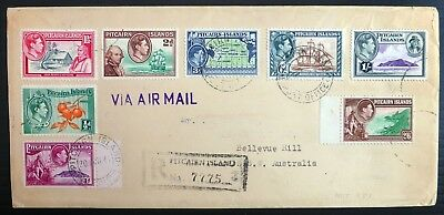 PITCAIRN ISLANDS G.VI to 2/6 on Registered Airmail Cover BE3