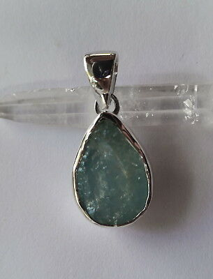 673 Aquamarine natural rough stone pendant solid 925 sterling silver rrp$74.95