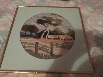 LONG STITCH COMPLETED & FRAMED AUSTRALIAN COUNTRY SCENE-UNDER GLASS.39 x 39 cm.