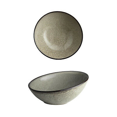 6x Slanted Bowl 175mm Olympia Mineral Commercial Crockery Rustic Natural