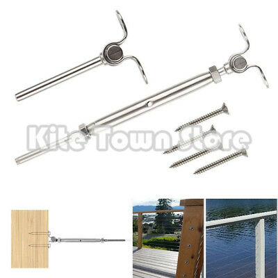 """T316 Stainless Steel Deck Toggle Tensioner Set for Cable Railing- 3/16"""" Cable"""
