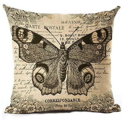 Cushion Pillow Vintage Carte Black Butterfly French Provincial Cottage Farmhouse