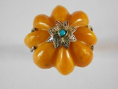 Antique Ottoman / Islamic  Solid Silver Ring Amber & Turquoise Gold Ring