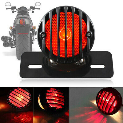 MOTORCYCLE TAIL LIGHTS ROUND REAR RED PAIR SHOTGUN STYLE TAIL LAMPS 08016