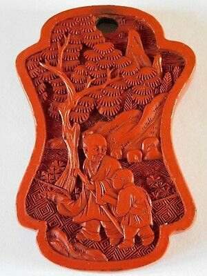 Fine Quality ANTIQUE CHINESE CARVED CINNABAR LAQUER  PENDANT - PLAQUE