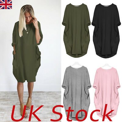 Women Long Sleeve Hoodie Oversized Loose Baggy Tops Jumper Dress Winter Pullover