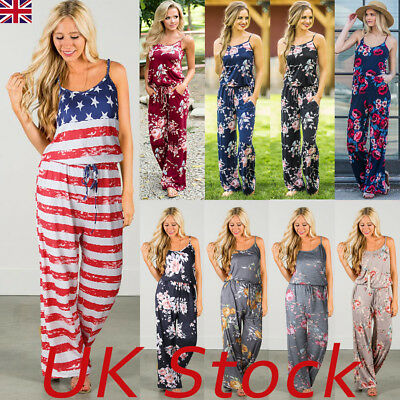 Plus Size Womens Floral Holiday Long Playsuits Dress Trouser Boho Jumpsuit 6-20